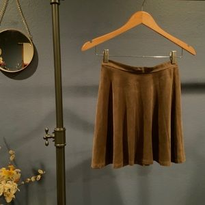 Faux suede taupe skater skirt